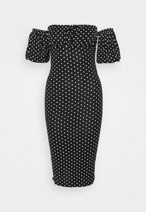 RUCHED BUST BARDOT PUFF MIDI DRESS - Sukienka letnia - black