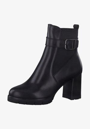 Enkellaarsjes met hoge hak - black leather 003