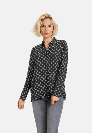 Button-down blouse - schwarz/ecru/weiss druck