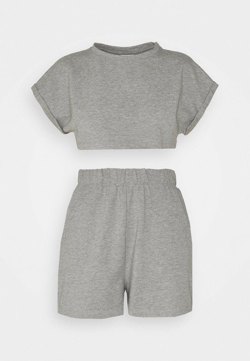 Noisy May Petite - NMMALOU CROPPED SET - Teplákové kalhoty - light grey melange