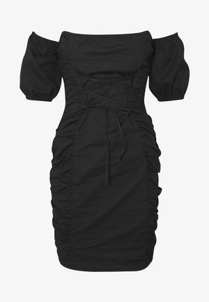 BARDOT LACE RUCHED MINI DRESS - Sukienka letnia - black