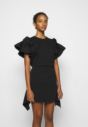 RUFFLE SHIRTING SLEEVE - Jednoduché triko - black