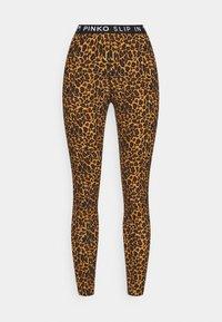 MAGENTA GEORGETTE STRETCH STAMPATA - Leggings - Trousers - nero/beige