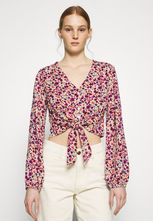 BUTTON THROUGH TIE HEM BLOUSE - Blouse - cream