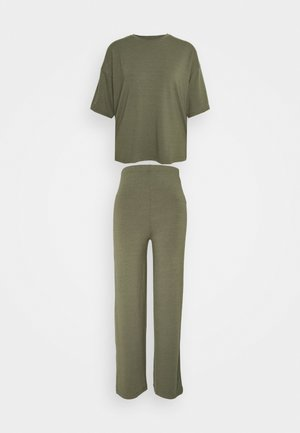 WIDE LEG SET - Tygbyxor - khaki