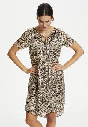 Day dress - brown leo print gold lurex