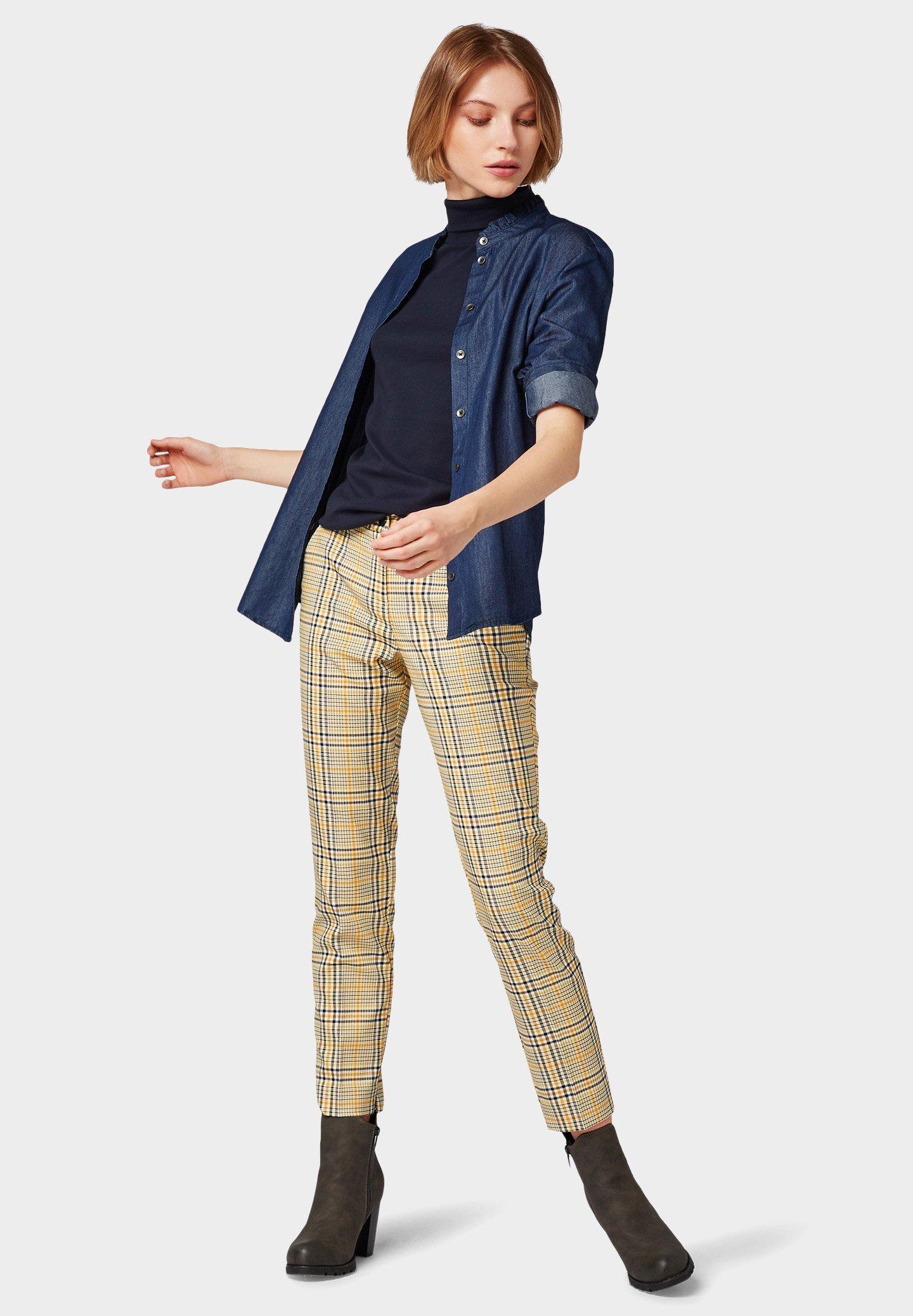 TOM TAILOR MIA - Pantalon classique - black yellow small check mFSrVI6E