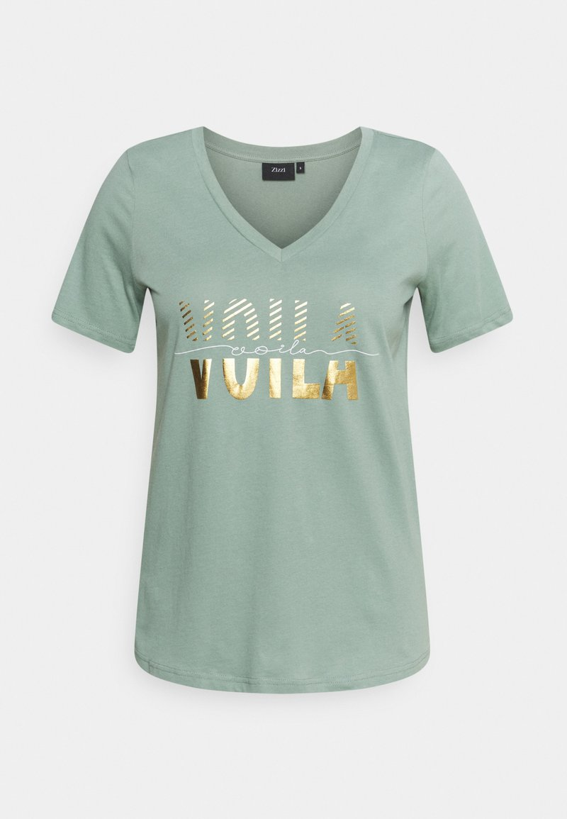 Zizzi - SHAPED TEE WITH V NECK - Print T-shirt - chinois green