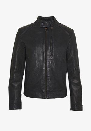 BIKER - Leather jacket - mazarine blue
