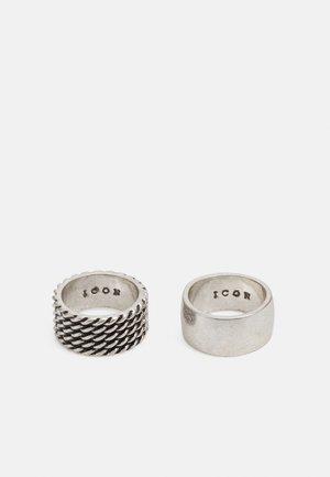 BRUTALIST TEXTURED 2 PACK - Ringar - silver-coloured