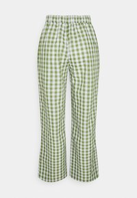 Pieces Petite - PCPIRA WIDE PANTS - Trousers - bright white/turtle green - 1