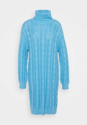 CABLE JUMPER  DRESS WITH VOLUME LONG SLEEVES - Strikket kjole - alaskan blue