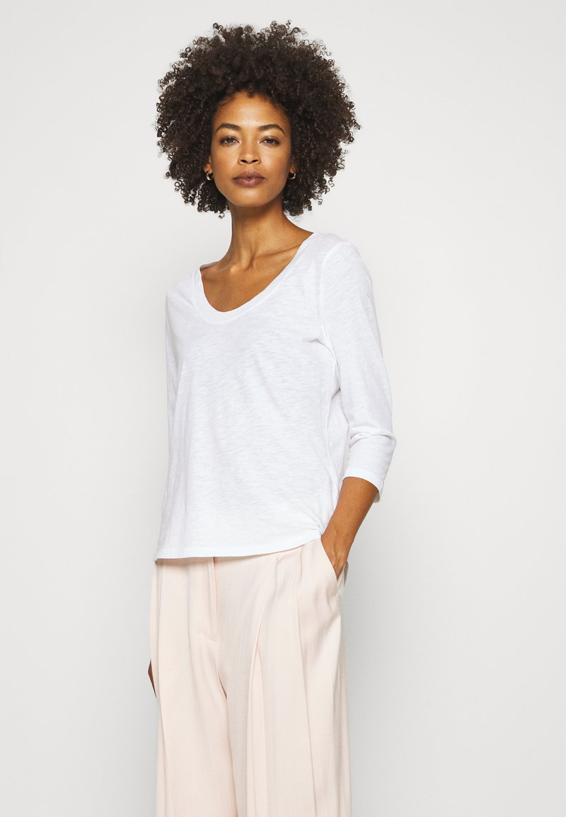 Marc O'Polo - SLEEVE ROUNDED NECK STITCHING DETAIL - Long sleeved top - white