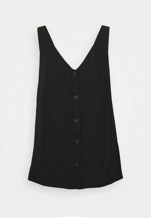 V NECK BUTTON CAMI - Blouse - black
