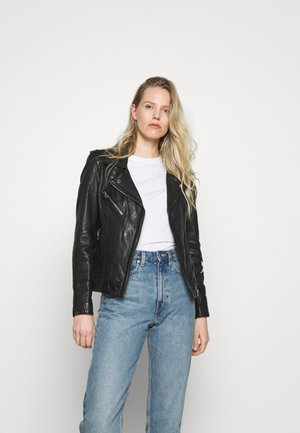JUST - Leather jacket - black