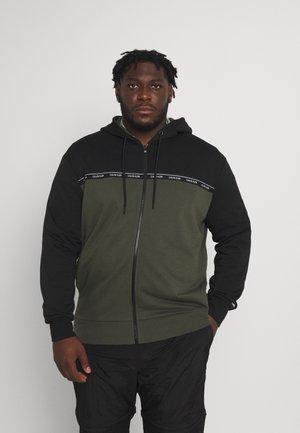LOGO STRIPE ZIP HOODIE - Zip-up sweatshirt - dark olive/black