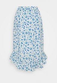 Pieces Petite - PCPIPA MIDI SKIRT - A-line skirt - bright white/blue - 1
