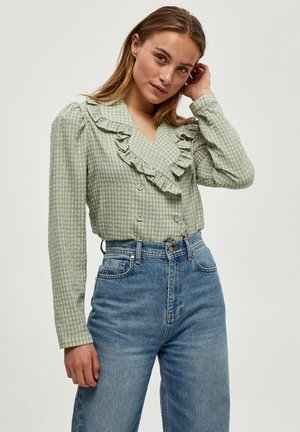 Blouse - green sand checked