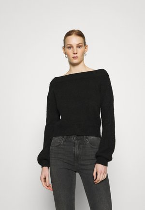 OFF SHOULDER JUMPER - Strikkegenser - black