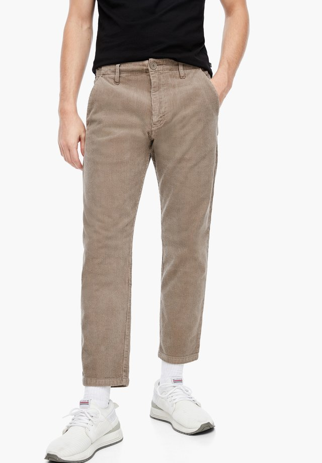 MIT CORD-STRUKTUR - Trousers - light brown