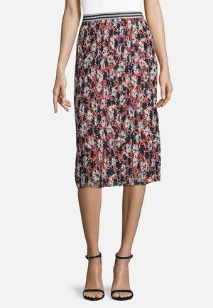 PLISSEEROCK MIT GUMMIZUG - A-line skirt - dark blue/red