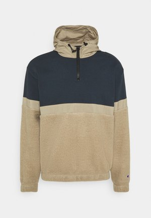 HALF ZIP HOODED  - Felpa con cappuccio - beige/dark blue