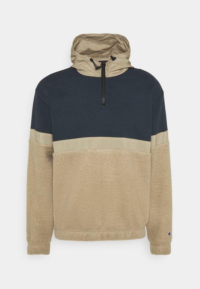 HALF ZIP HOODED  - Hoodie - beige/dark blue