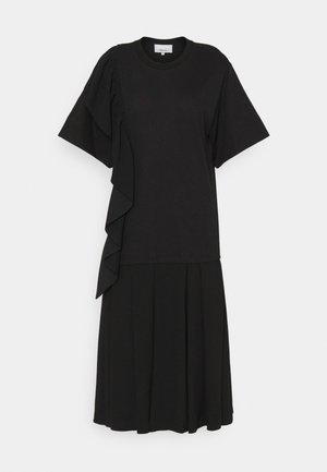 RUFFLE COMBO DRESS - Jerseyjurk - black