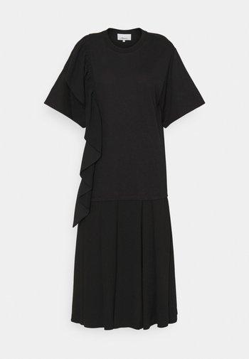 RUFFLE COMBO DRESS - Vestido ligero - black