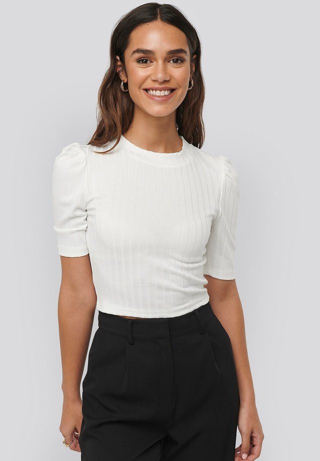 PUFF SLEEVE CROPPED RIBBED - T-shirt basic - offwhite