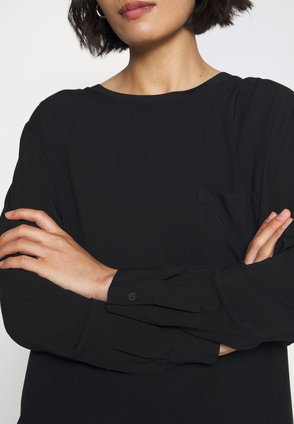 Marc O'Polo DENIM BLOUSE LONGSLEEVE - Bluzka - black Kolor jednolity Odzież Damska HUOS NB 4