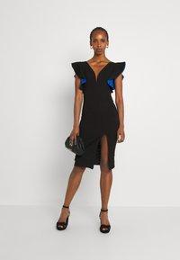 WAL G. - V NECK RUFFLE SLEEVE MIDI DRESS - Cocktail dress / Party dress - black/royal blue - 1
