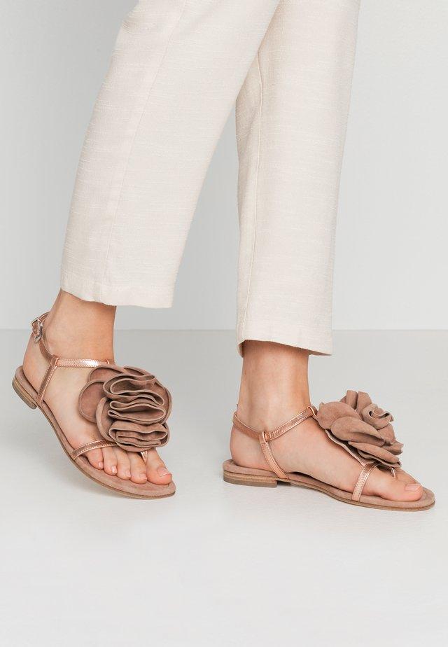 ELLE - T-bar sandals - rose/skin