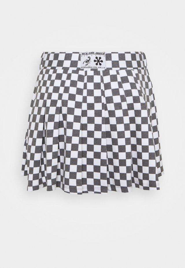 CHECKERBOARD SKIRT - Jupe trapèze - black/white