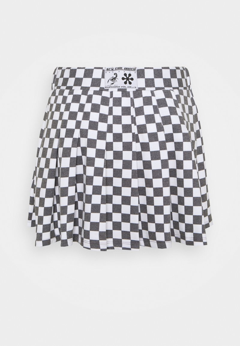 NEW girl ORDER - CHECKERBOARD SKIRT - Áčková sukně - black/white