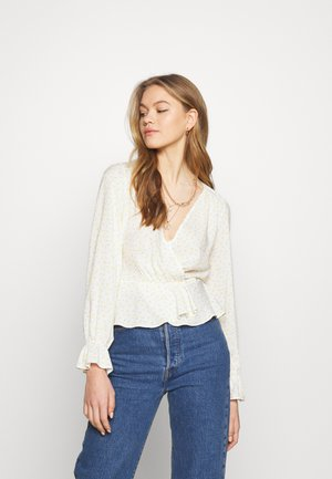 CUTOUT TIE NECK BLOUSE - Bluser - cream