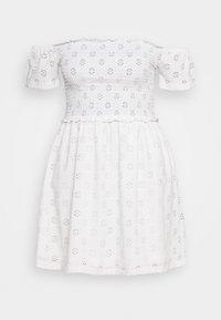BRODERIE SMOCK DRESS - Jersey dress - white