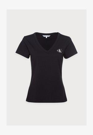 MONOGRAM SLIM V-NECK TEE - T-Shirt basic - black