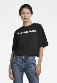 G-Star - FLOCK BOXY R T UNISEX  - Print T-shirt - dry jersey o dk black - 1