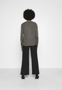 Even&Odd - Wide Leg Ribbed Trousers - Trousers - black - 2