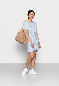 VILA PETITE - VIMILAC O-NECK DRESS - Day dress - cashmere blue/cloud dancer - 1
