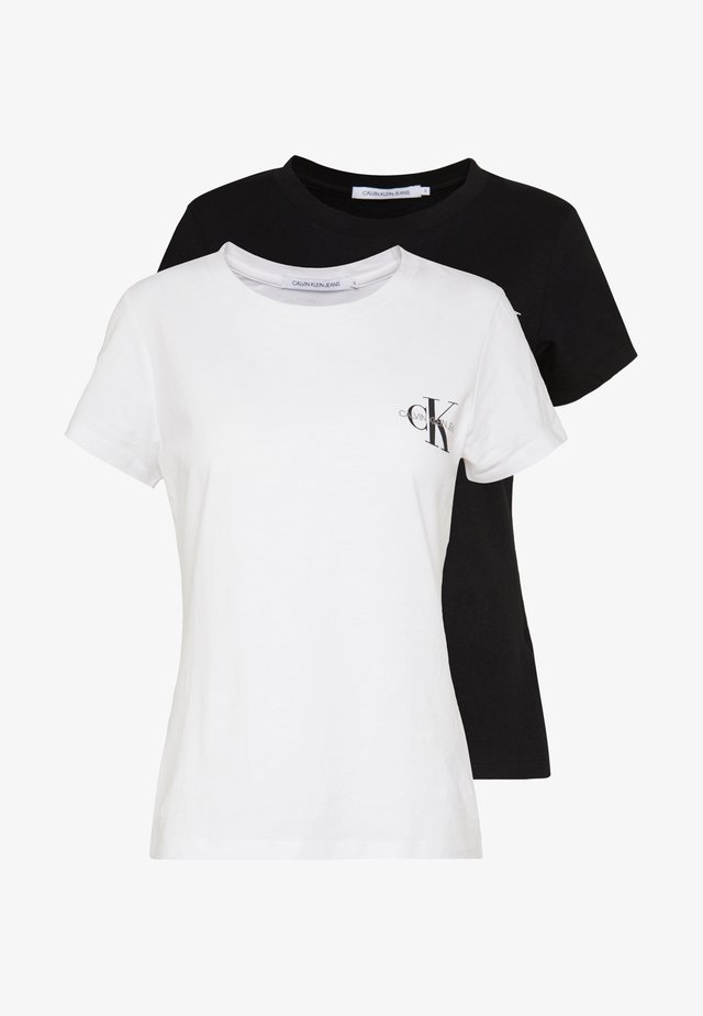 SLIM 2 PACK - T-shirt con stampa - black/bright white
