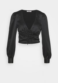 Glamorous - LACE UP FRONT BLOUSE - Bluser - black - 0