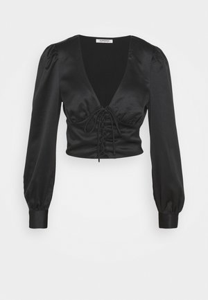 LACE UP FRONT BLOUSE - Pusero - black