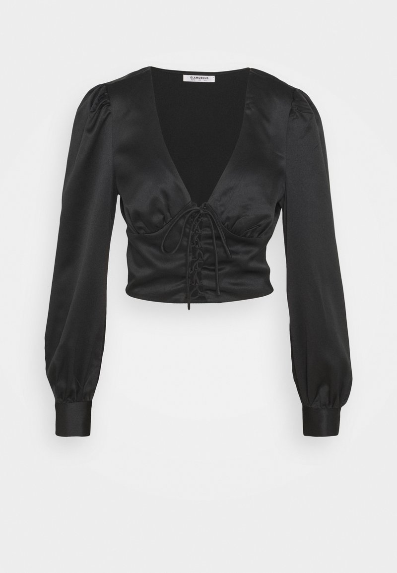 Glamorous - LACE UP FRONT BLOUSE - Bluser - black