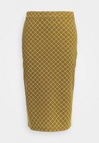 IHKATE GRID - Pencil skirt - khaki/white