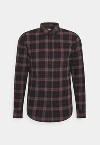 Pier One - Camisa - mottled dark grey / bordeaux - 0