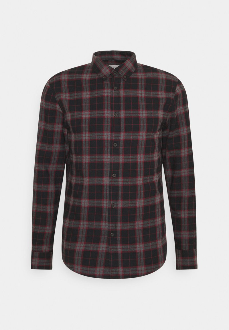 Pier One - Camisa - mottled dark grey / bordeaux