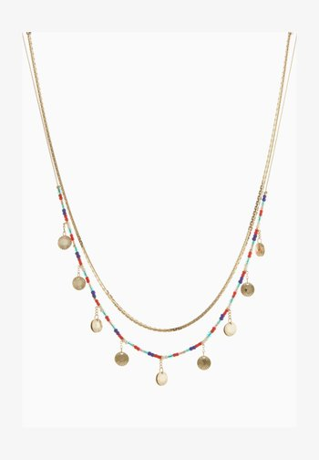 COLOURFUL BEADED MULTI LAYER - Necklace - gold