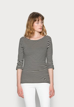 STRIPES TURNUP - Long sleeved top - black